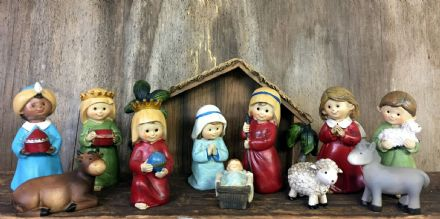 Complete Nativity Shed with 11 Figures Christmas Ornament